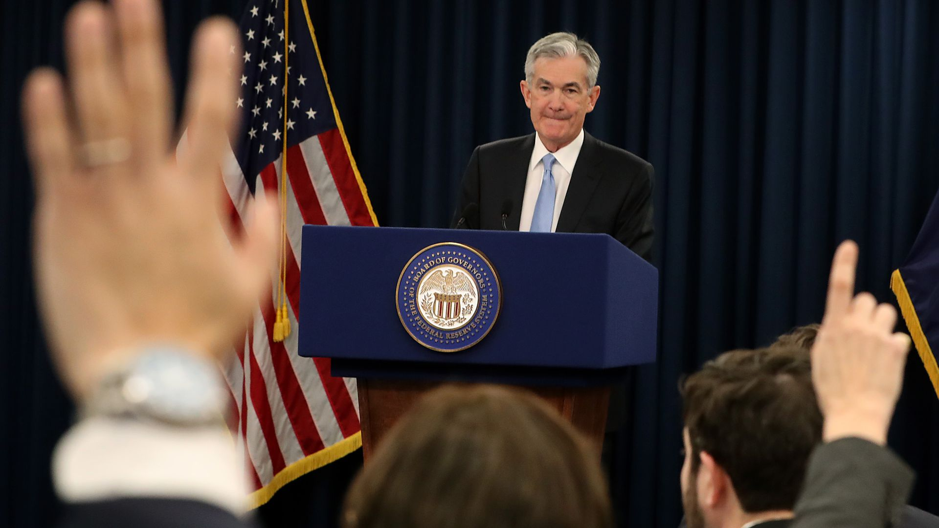 WASHINGTON, DC - MARCH 20: Federal Reserve Board Chairman Jerome Powell speaks during a news conference on March 20, 2019 in Washington, DC.