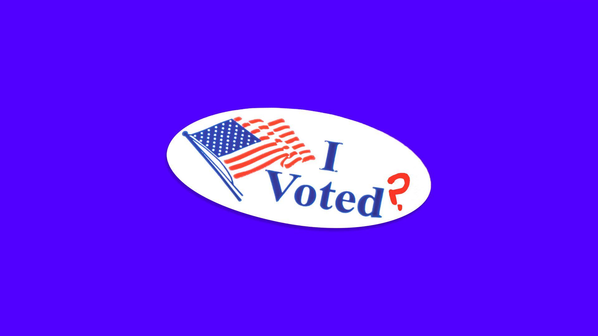"An illustration of an ""I voted?"" sticker with a question mark"