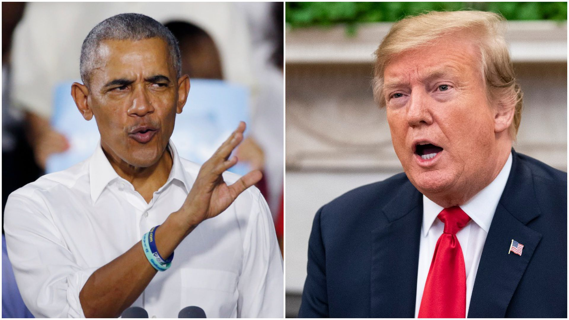 A split screen of former President Obama and President Trump, who are both speaking.