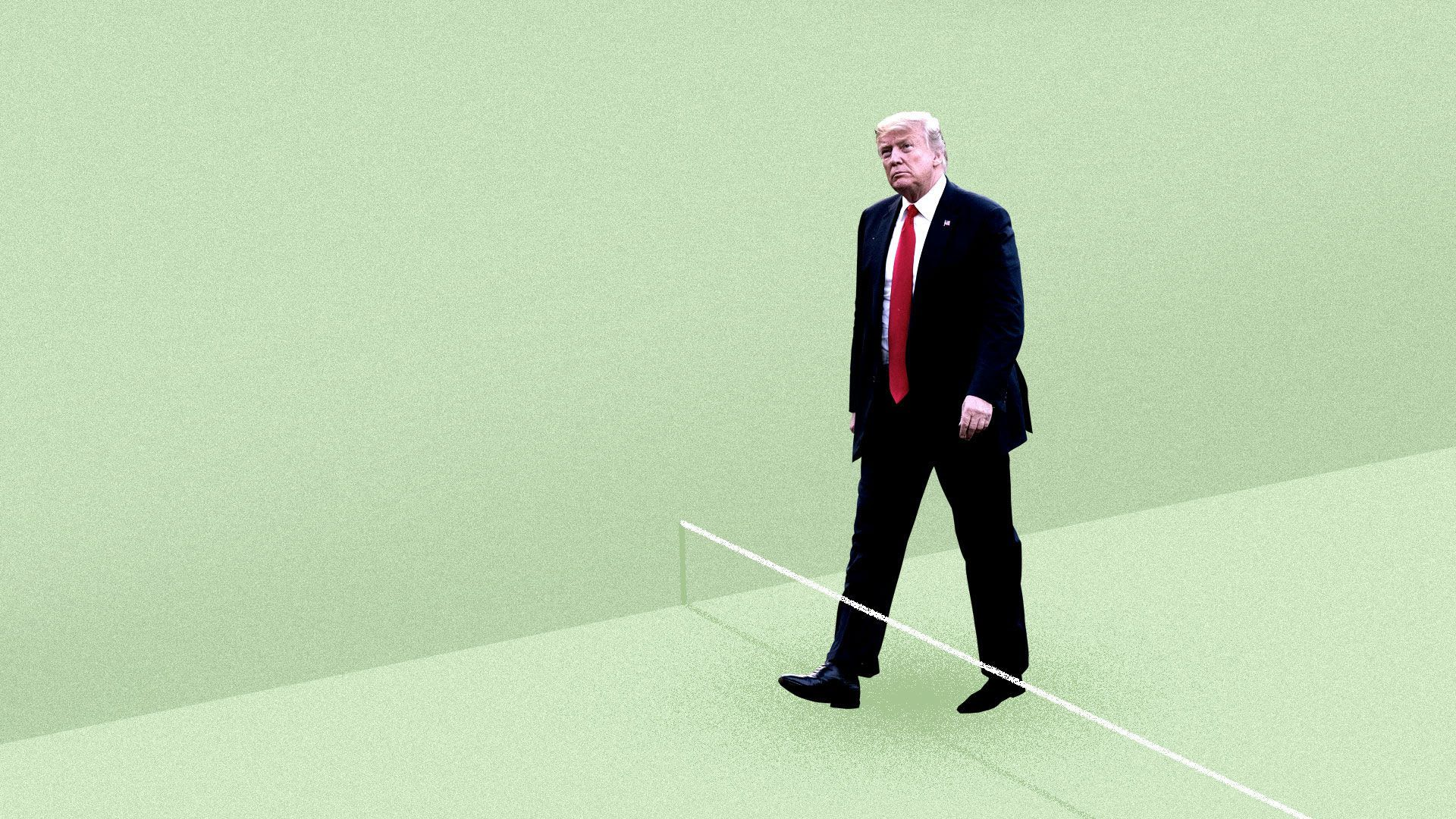 An illustration of Trump walking into a trap