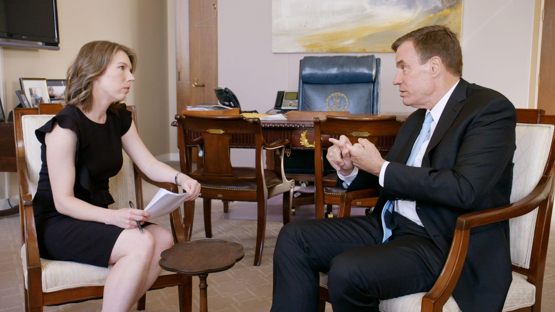 """Sen. Mark Warner talks with Axios' Kim Hart on """"Axios on HBO"""""""