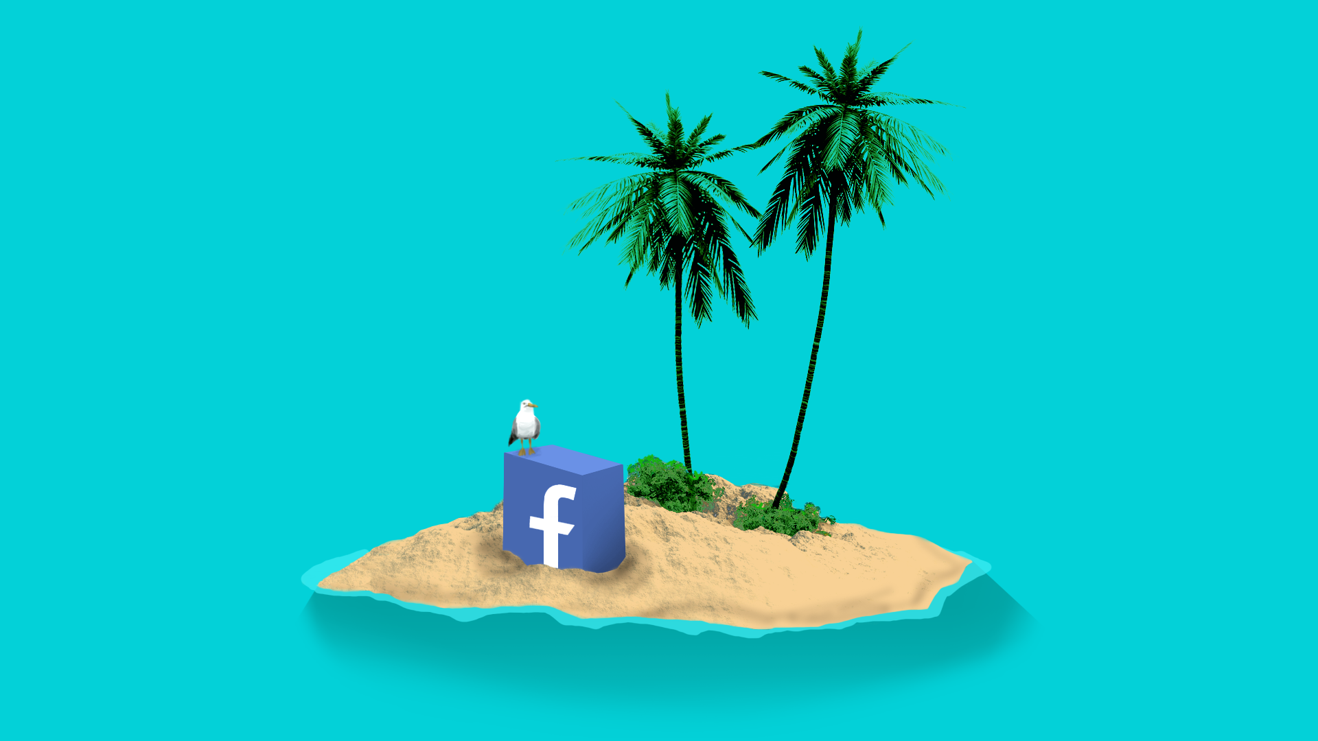 Illustration of an island with facebook logo