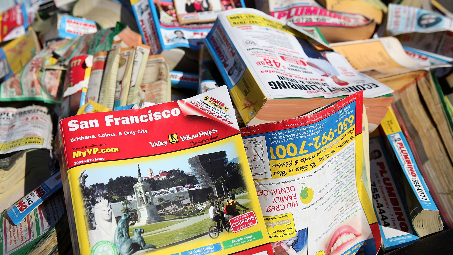 A stack of phonebooks
