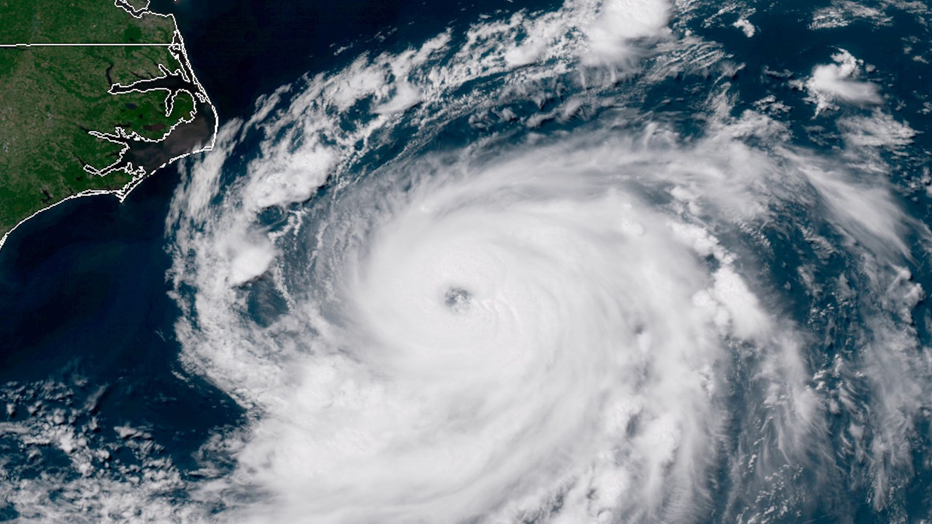 Satellite image showing Hurricane Chris swirling off the coast of North Carolina.