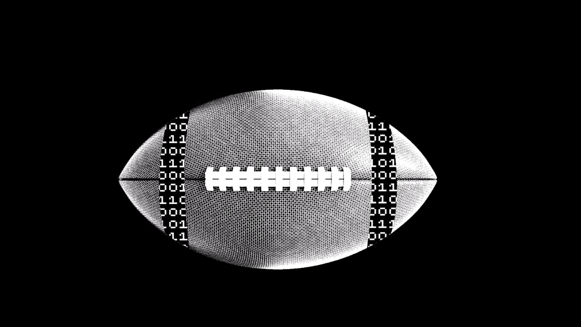 In this illustration, two strings of data decorate opposite ends of a football.