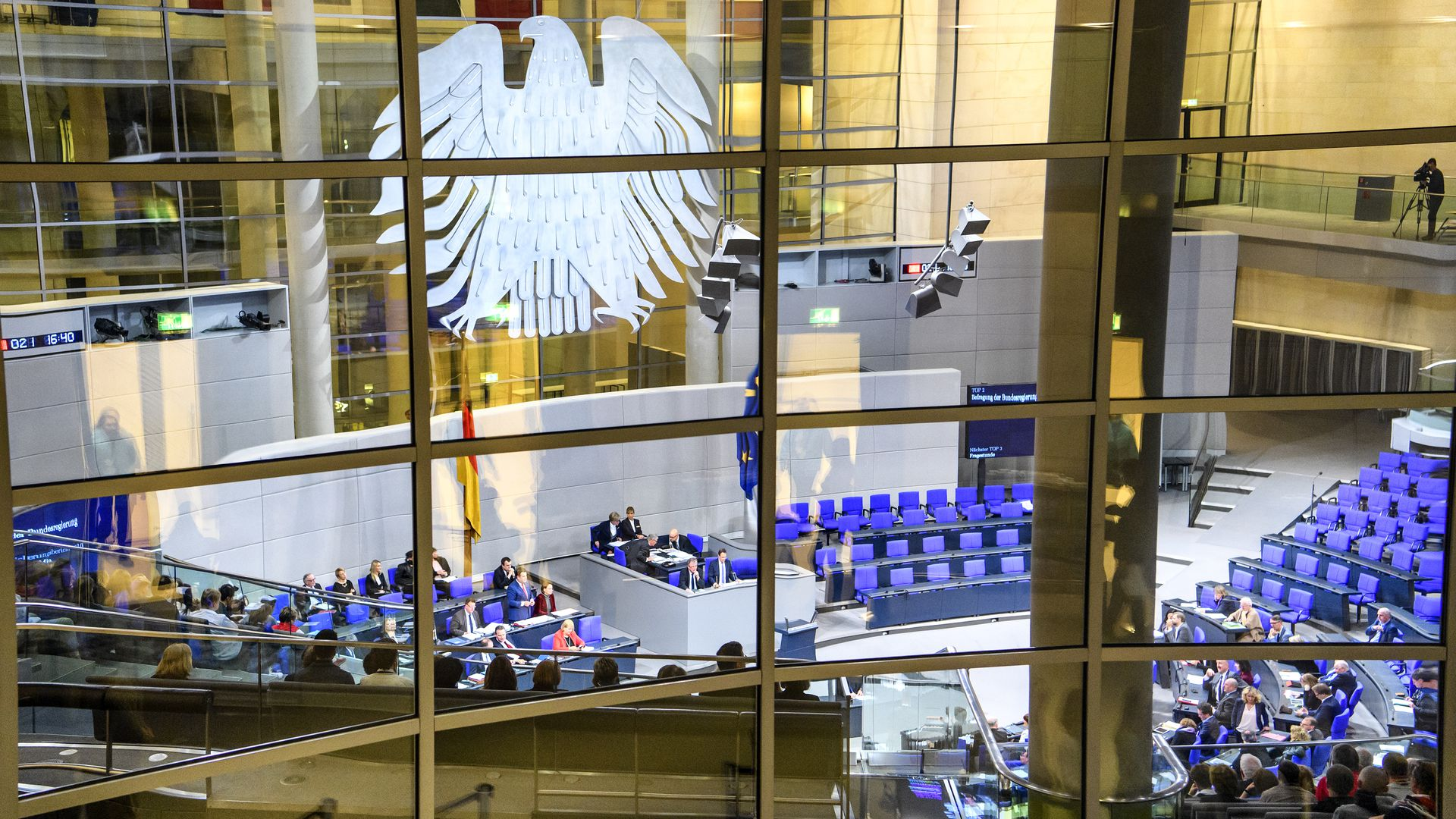 Interior of Plenary Hall (meeting room) of German Parliament (Deutscher Bundestag),