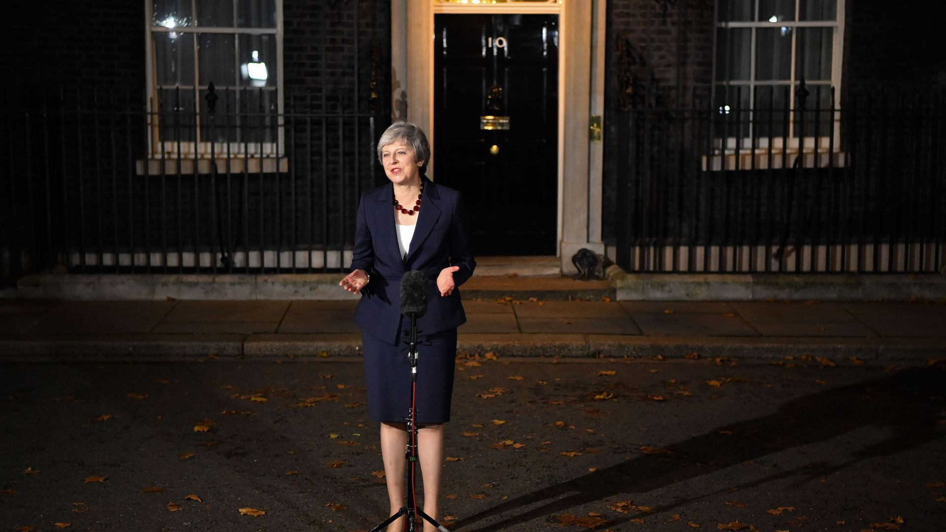 Theresa May stands in front of 10 Downing Street in London