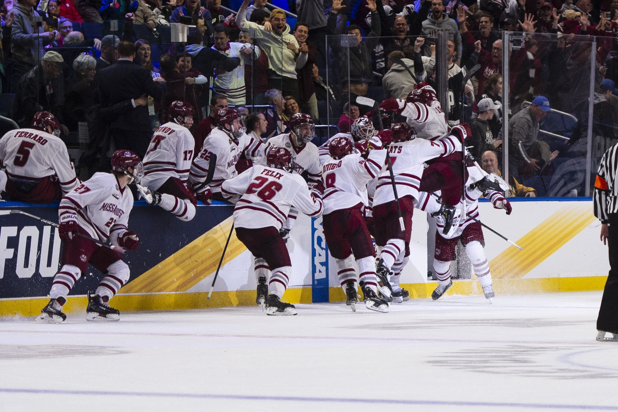 UMass celebrates their win