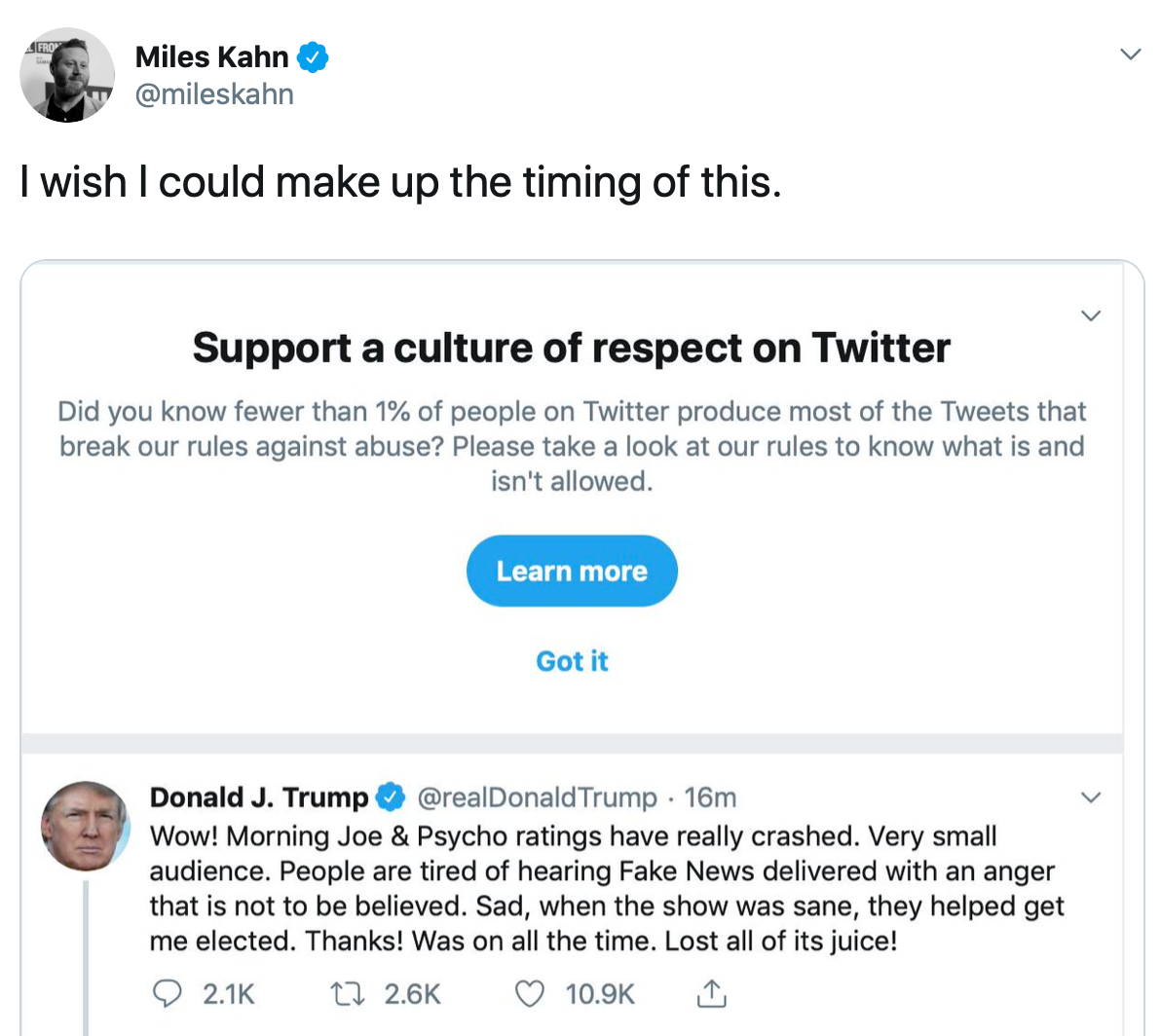 A screenshot from Twitter juxtaposing its effort to improve the dialog with a Donald Trump Tweet