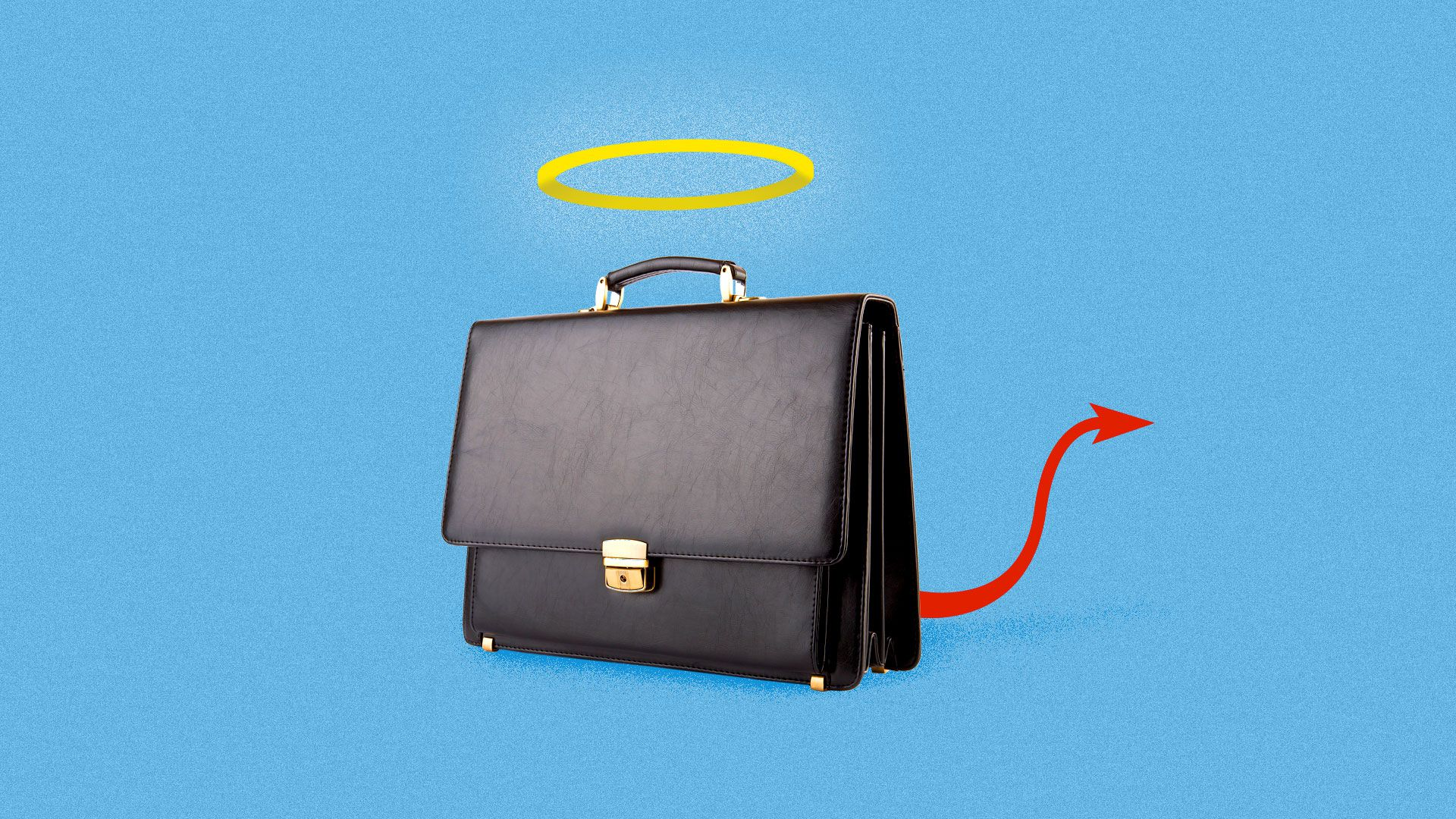 An illustration of an evil briefcase with a halo.
