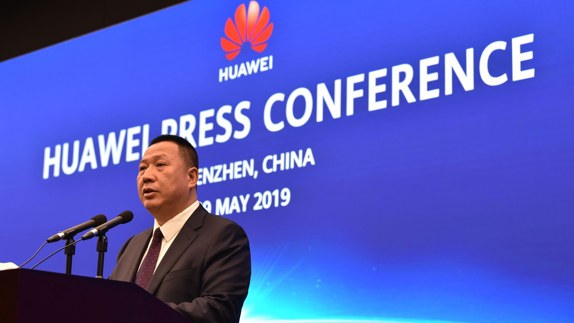 Song Liuping, chief legal officer of Chinese tech giant Huawei, speaks during a press conference at the Huawei facilities in Shenzhen, Guangdong province, on May 29, 2019.