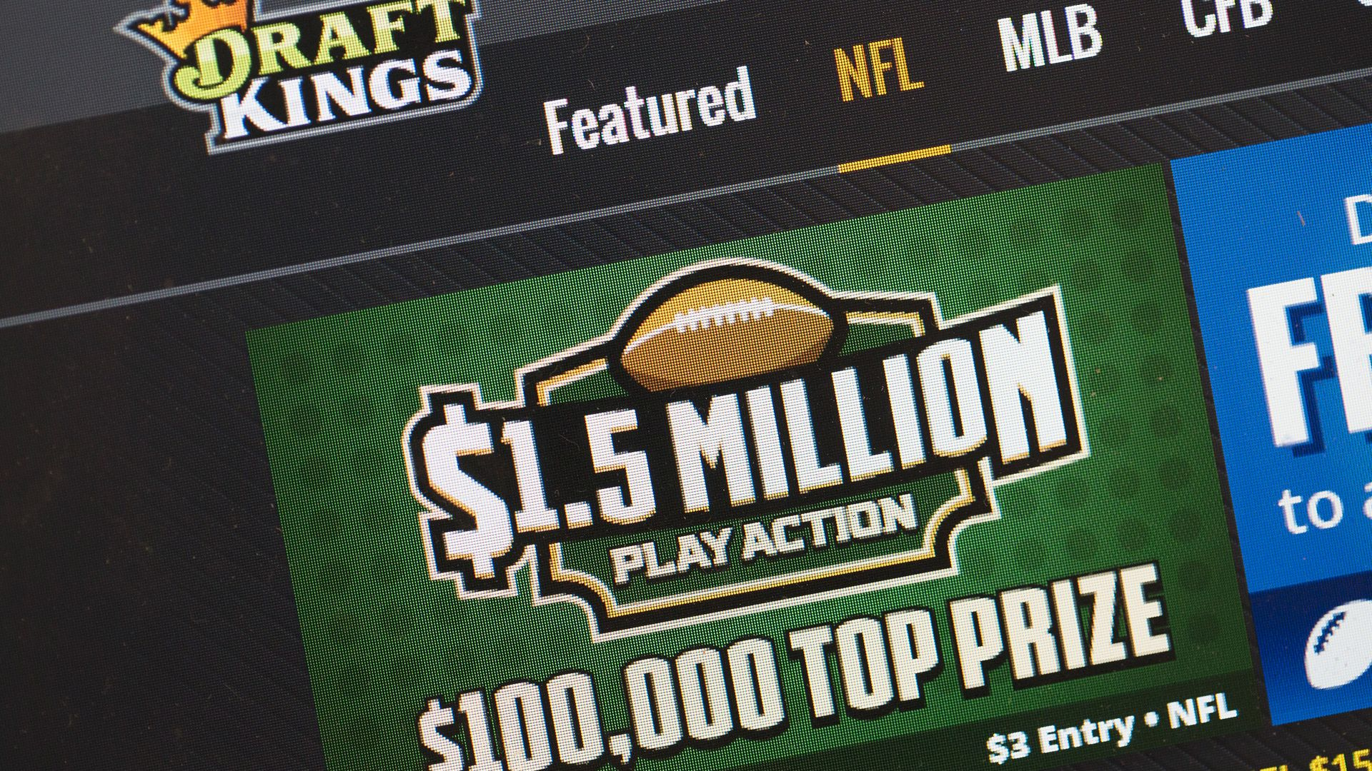 Draft Kings screen shot of NFL $1.5 million prize