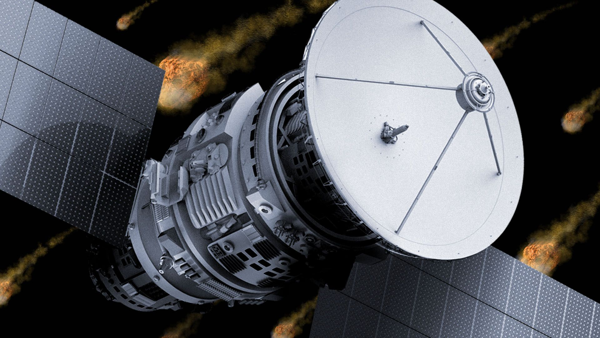Illustration of a satellite blocking the view of many asteroids in the background