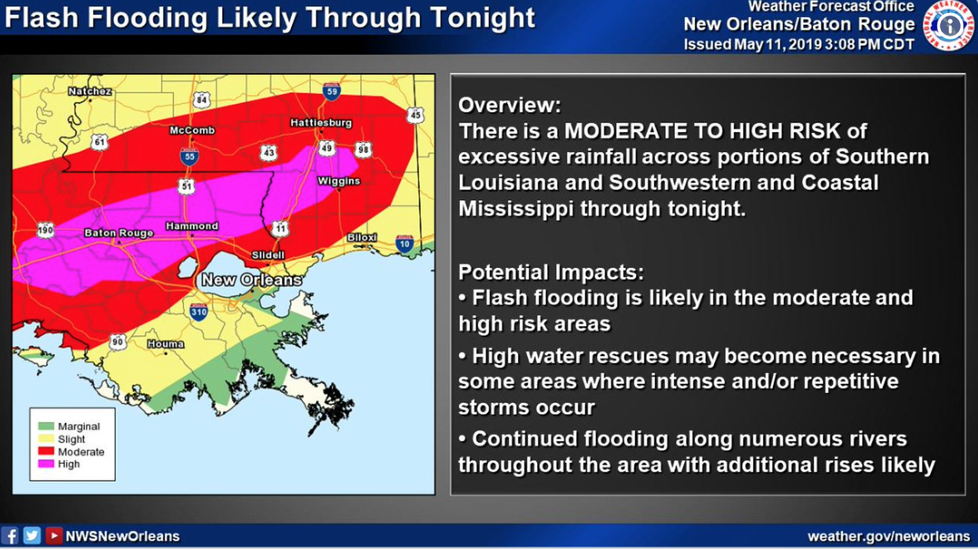 "A National Weather Service graphic warning of ""life-threatening"" flash flooding in  New Orleans Saturday night through Sunday morning."