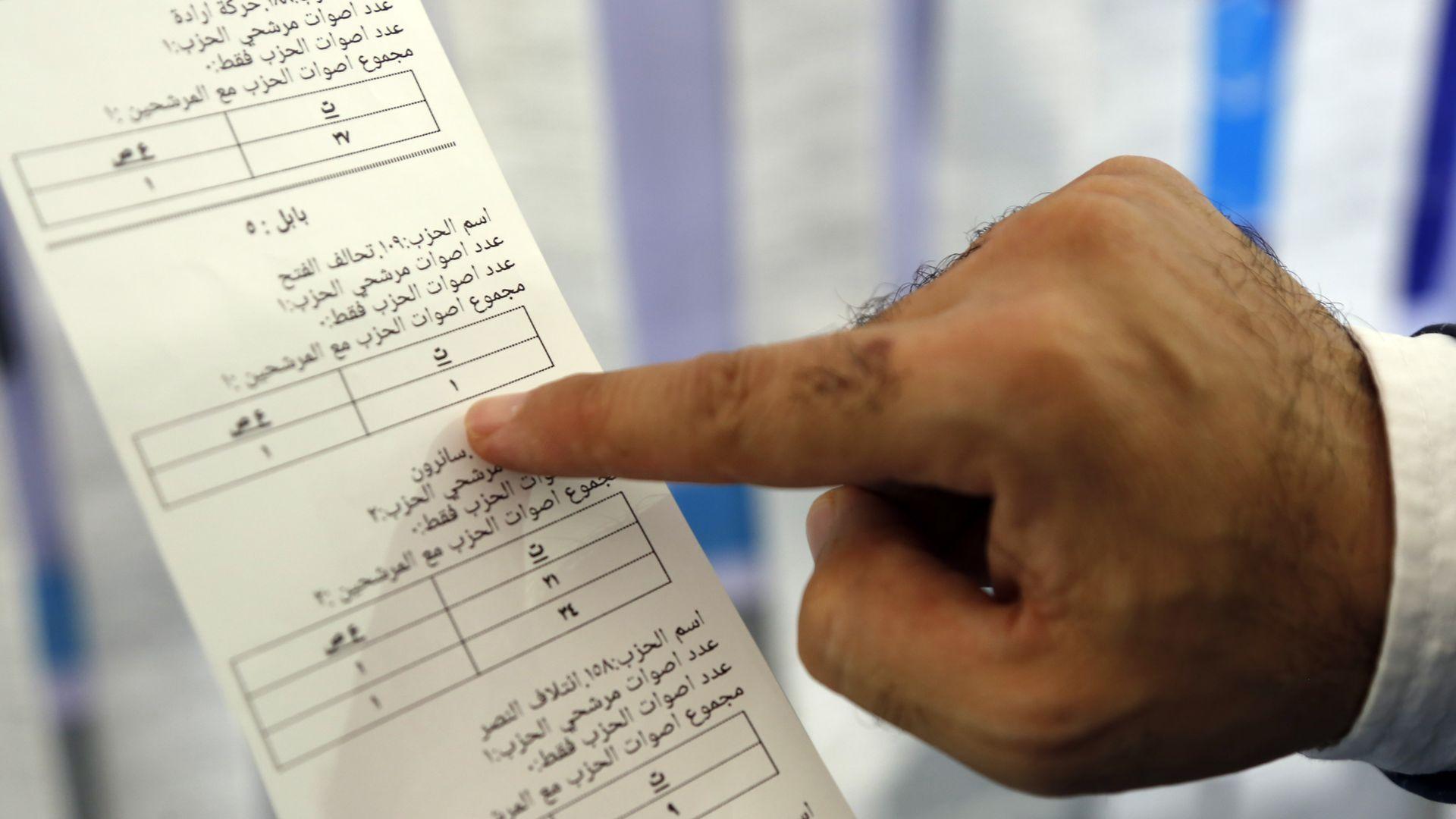 An Iraqi official examining a ballot
