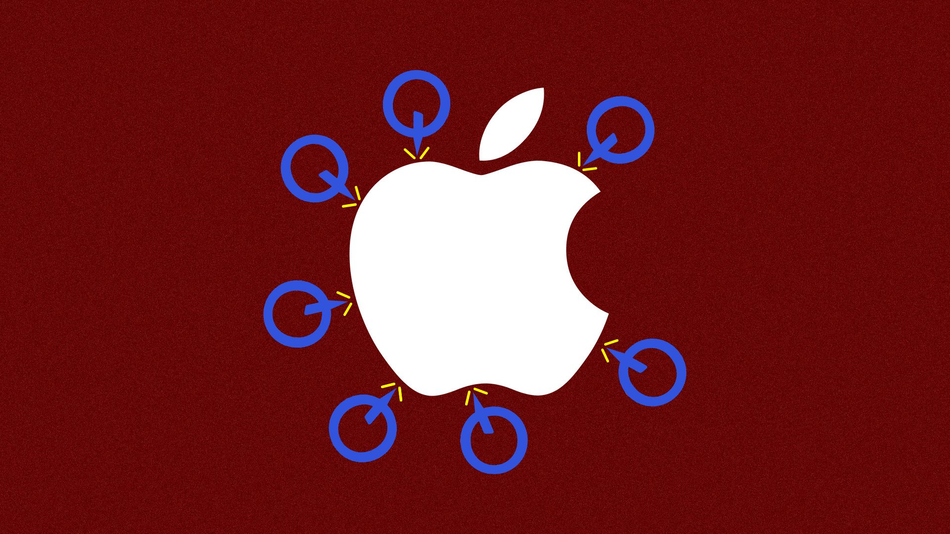 Illustration of Qualcomm logos attacking Apple logos