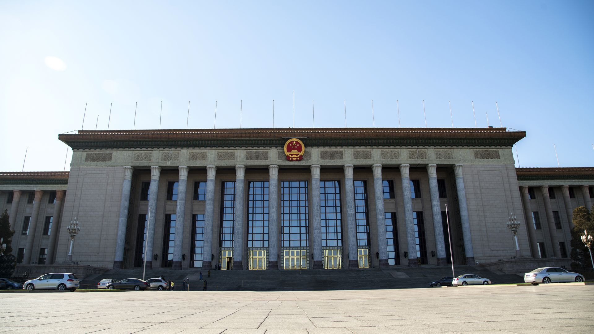 "The Great Hall of the People, located on the west of Tiananmen Square, where the ""Two Meetings"" are held each year. Photo: Zhang Peng / LightRocket via Getty Images"