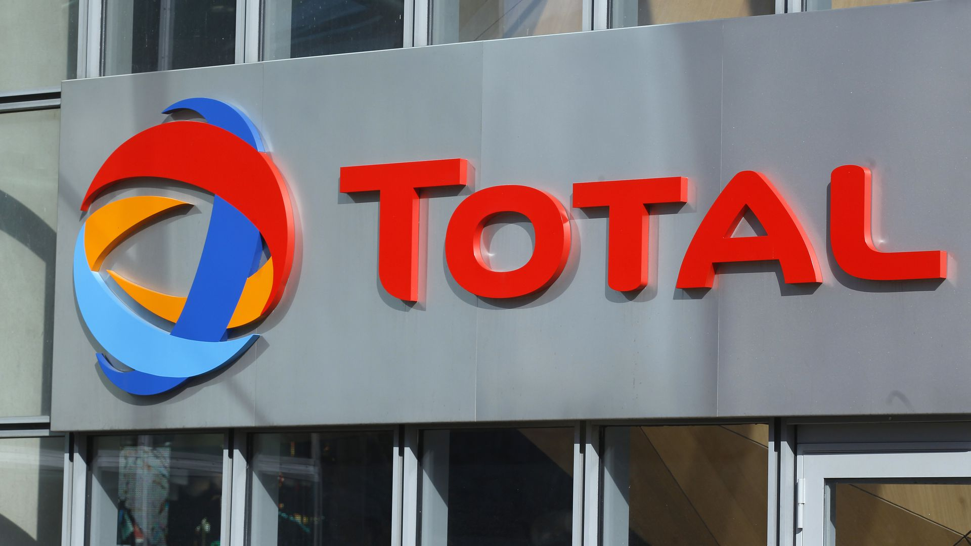Logo of French oil company headquarters Total in La Defense business district, near Paris