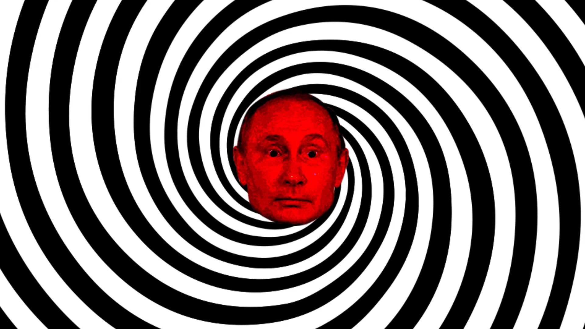 Putin's face in the center of a hypnotic spiral