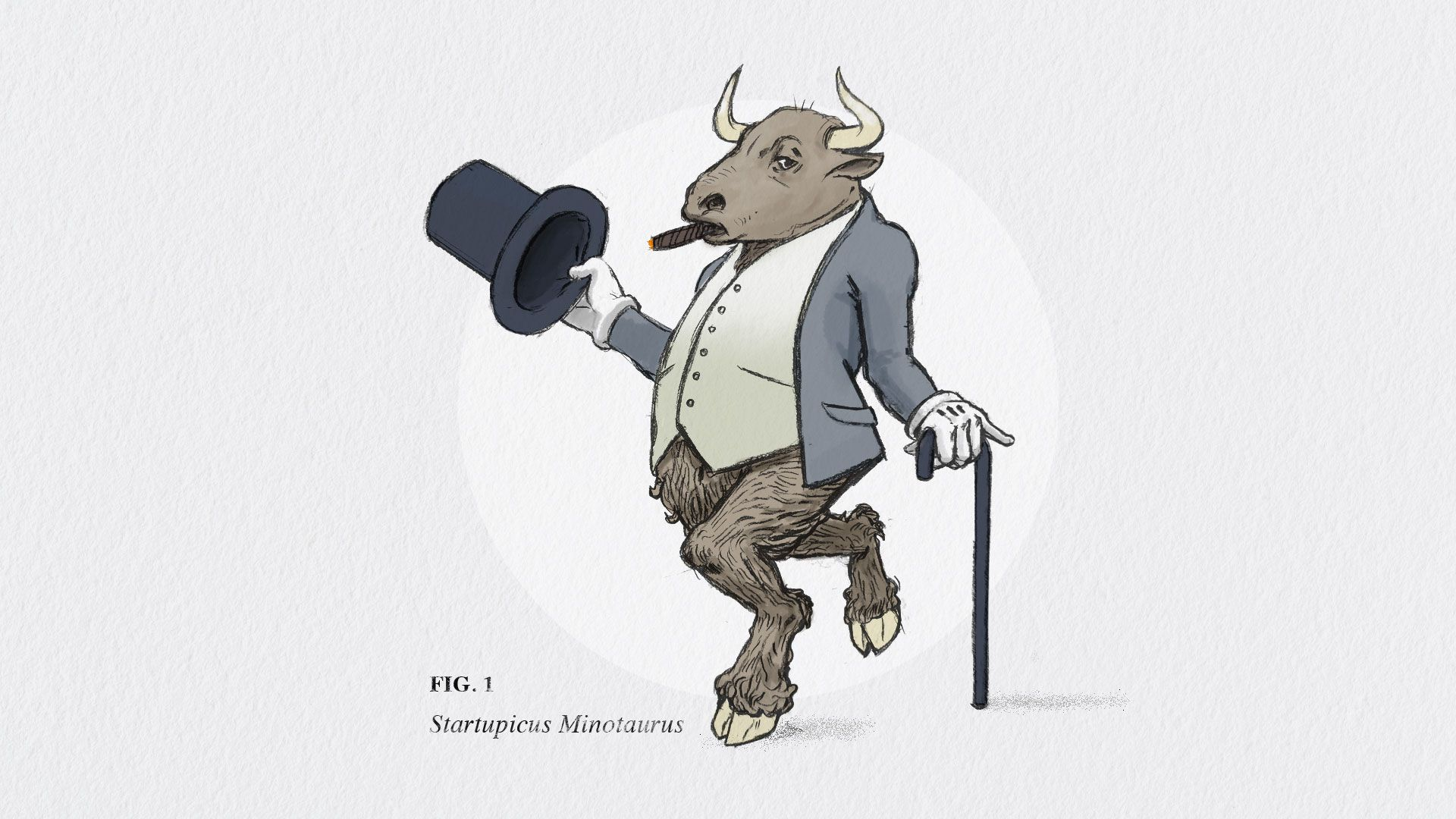 A fancy minotaur with a cane and top hat