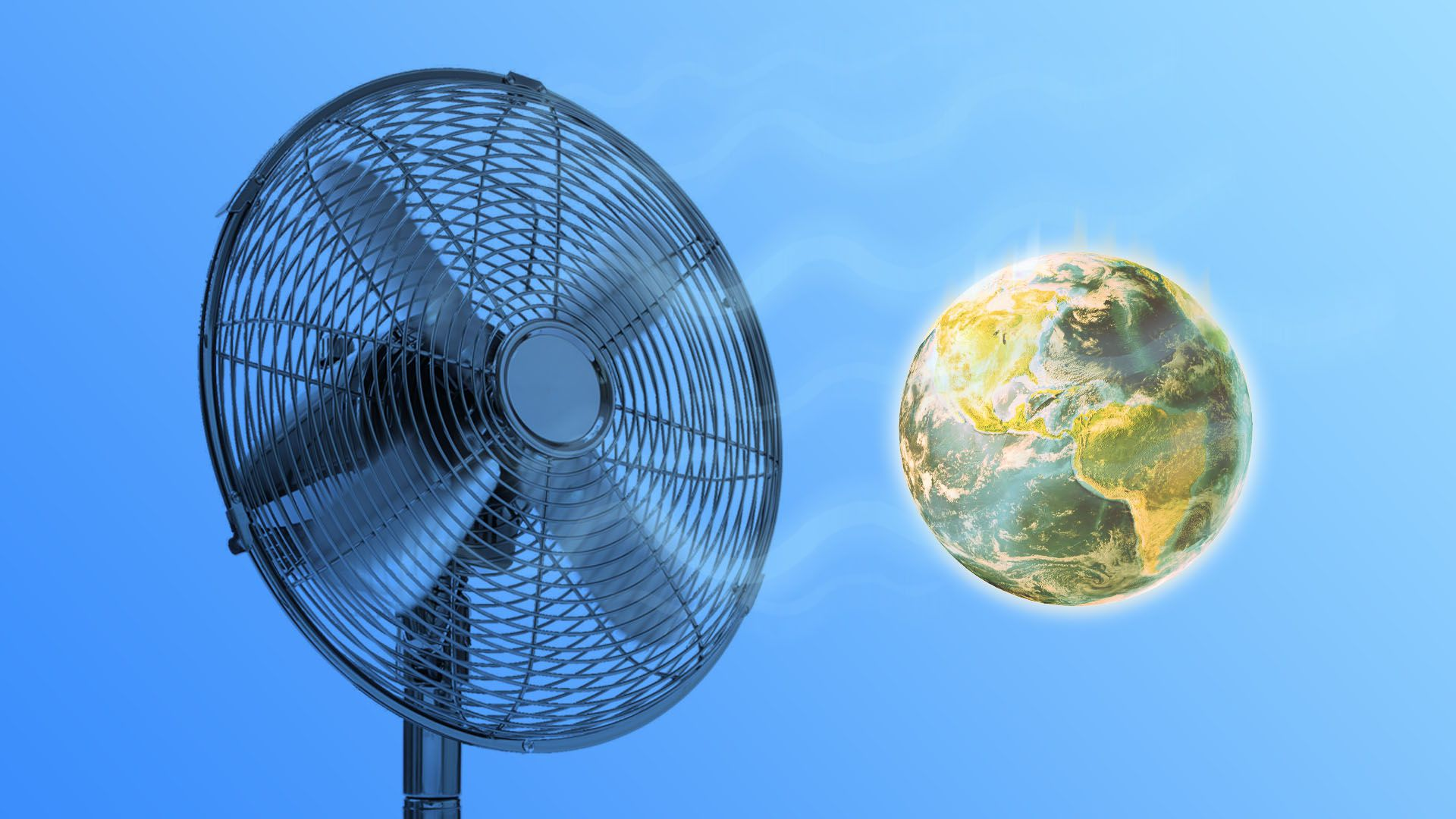 Illustration of a giant electric fan cooling a warming planet