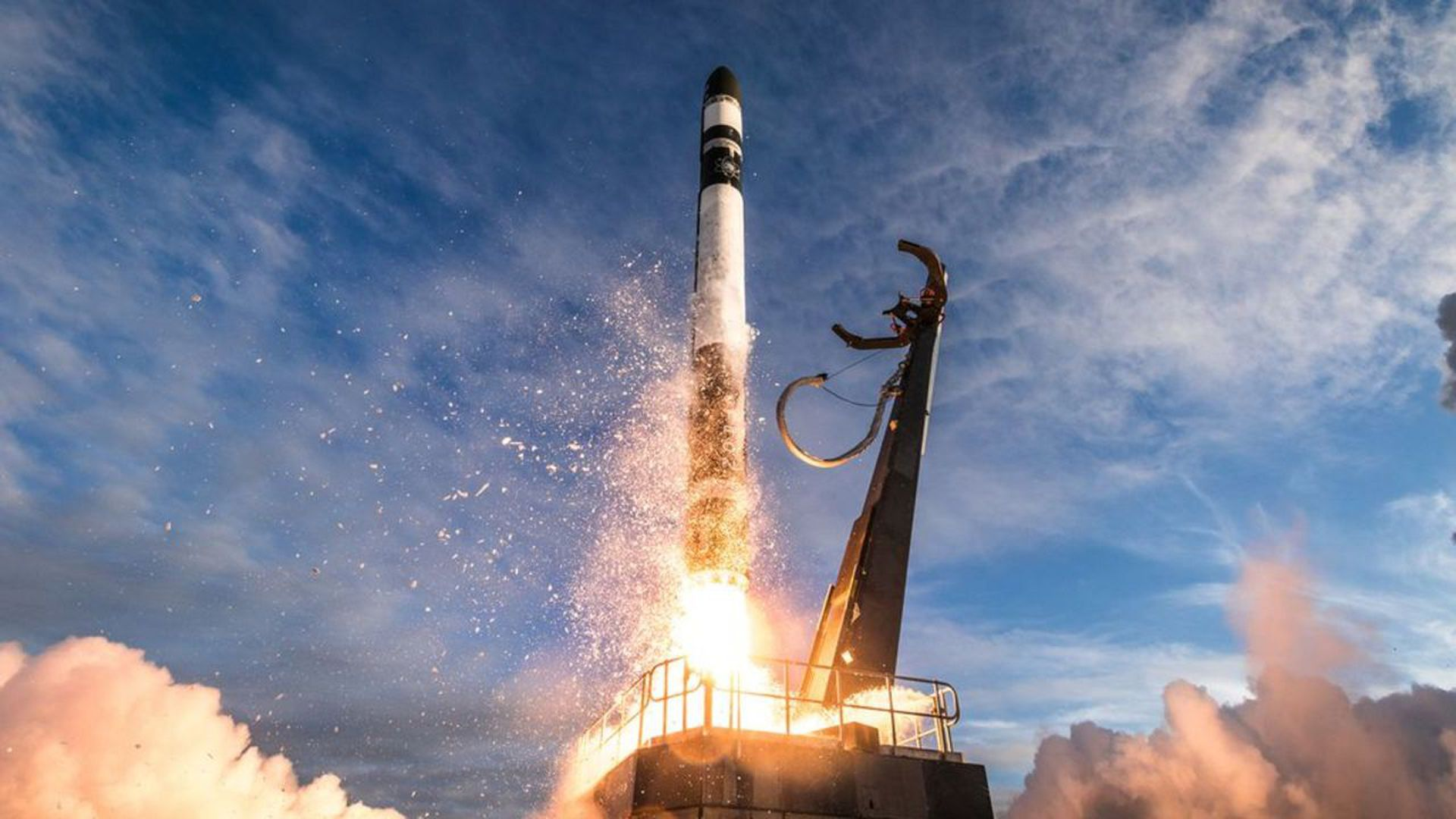 Rocket Lab's Electron rocket taking flight. Photo: Trevor Mahlmann/Rocket Lab
