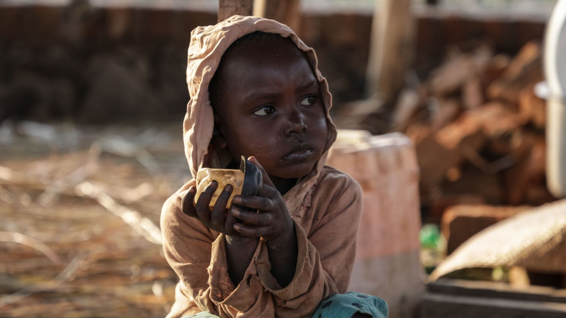 A South Sudanese child fleeing from recent fighting in Lasu in South Sudan.