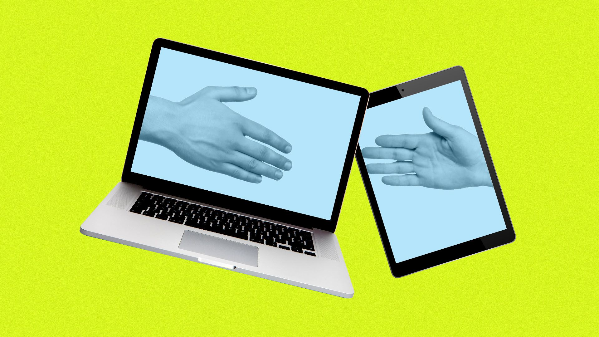 Illustration of a Mac laptop and an IPad with hands reaching to clasp.