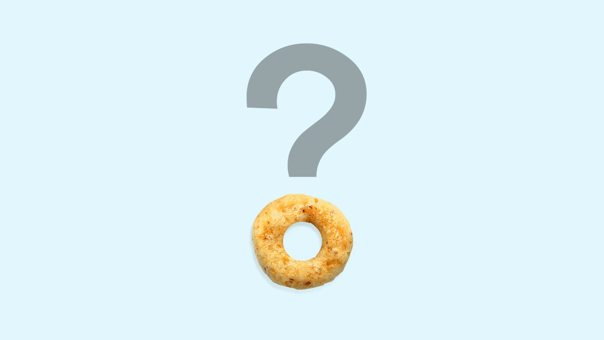 Illustration of a cheerio as a dot to an question mark.