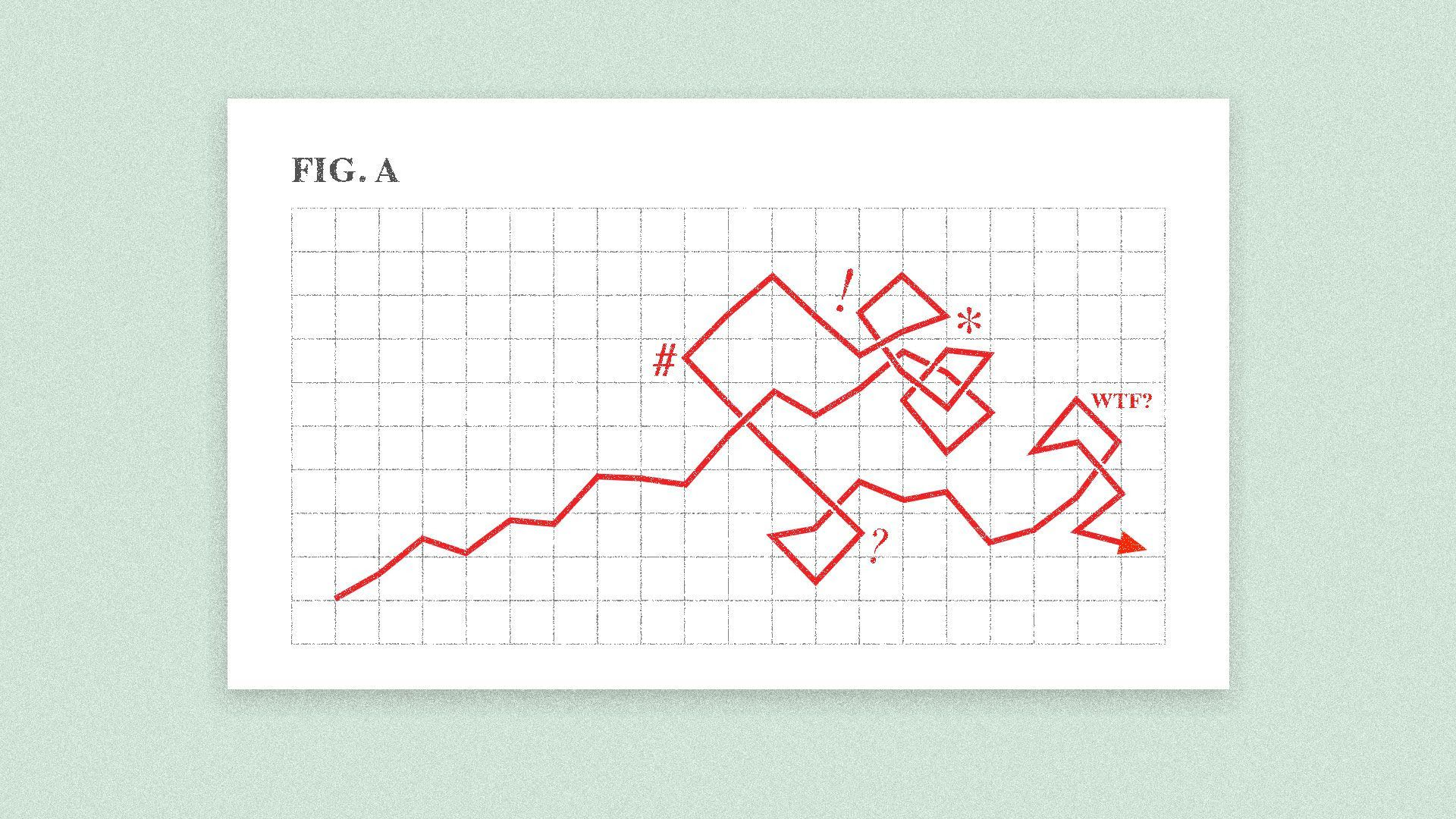 illustration of a line graph that is squiggled and messed up