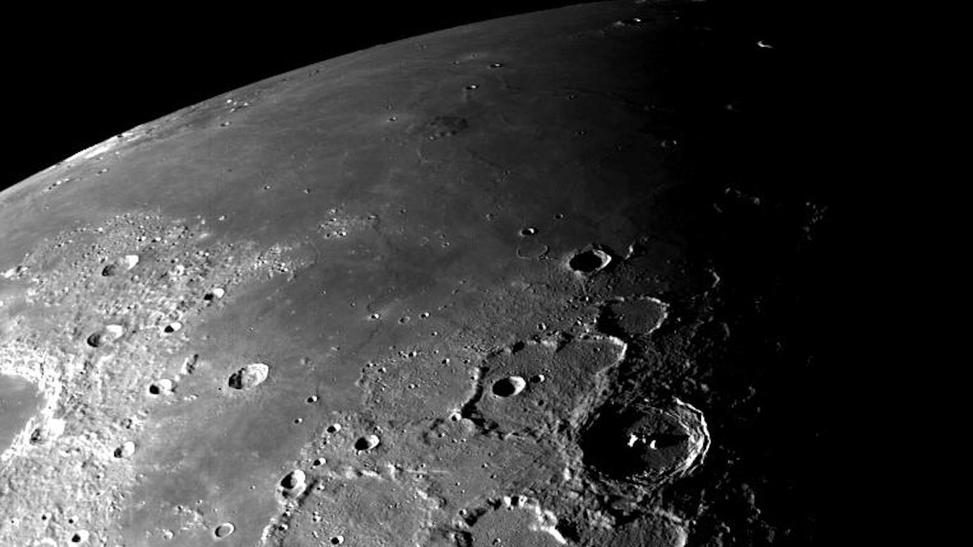 The surface of the Moon seen from above.