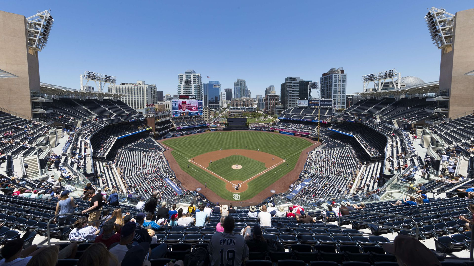 View of the interior of Petco Park during a MLB regular season game last year