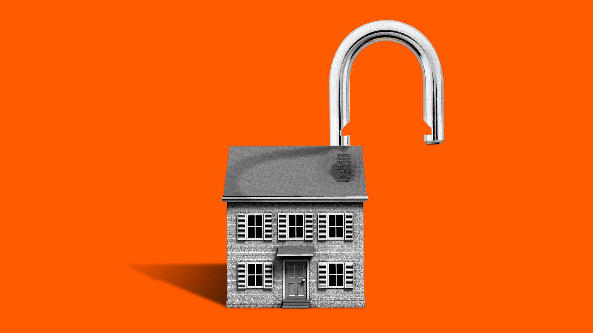 Illustration of a house with a padlock shackle on the roof in an open position.