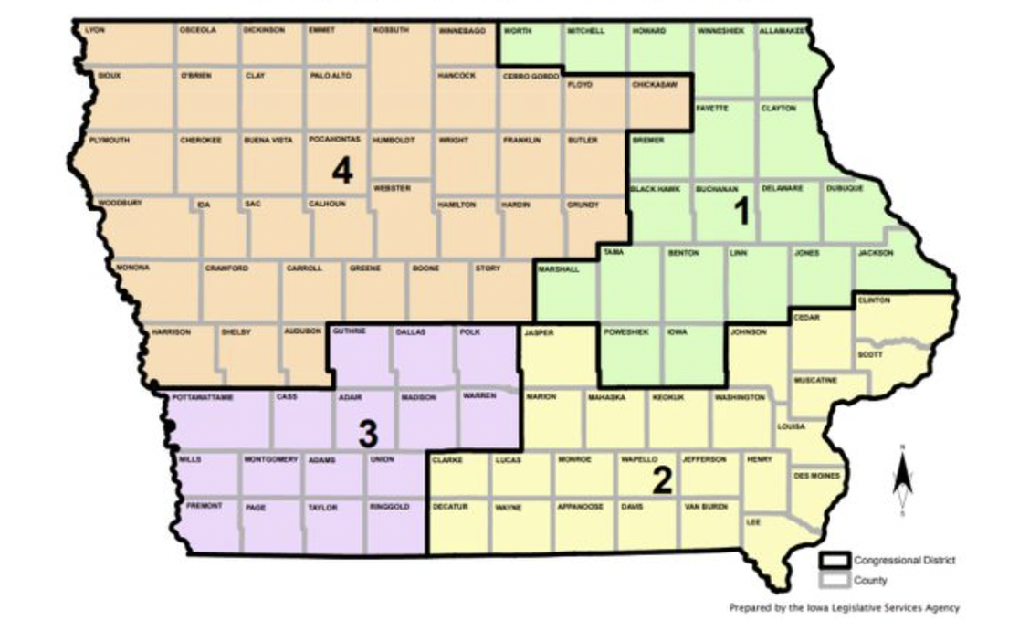 Iowa's current Congressional map.