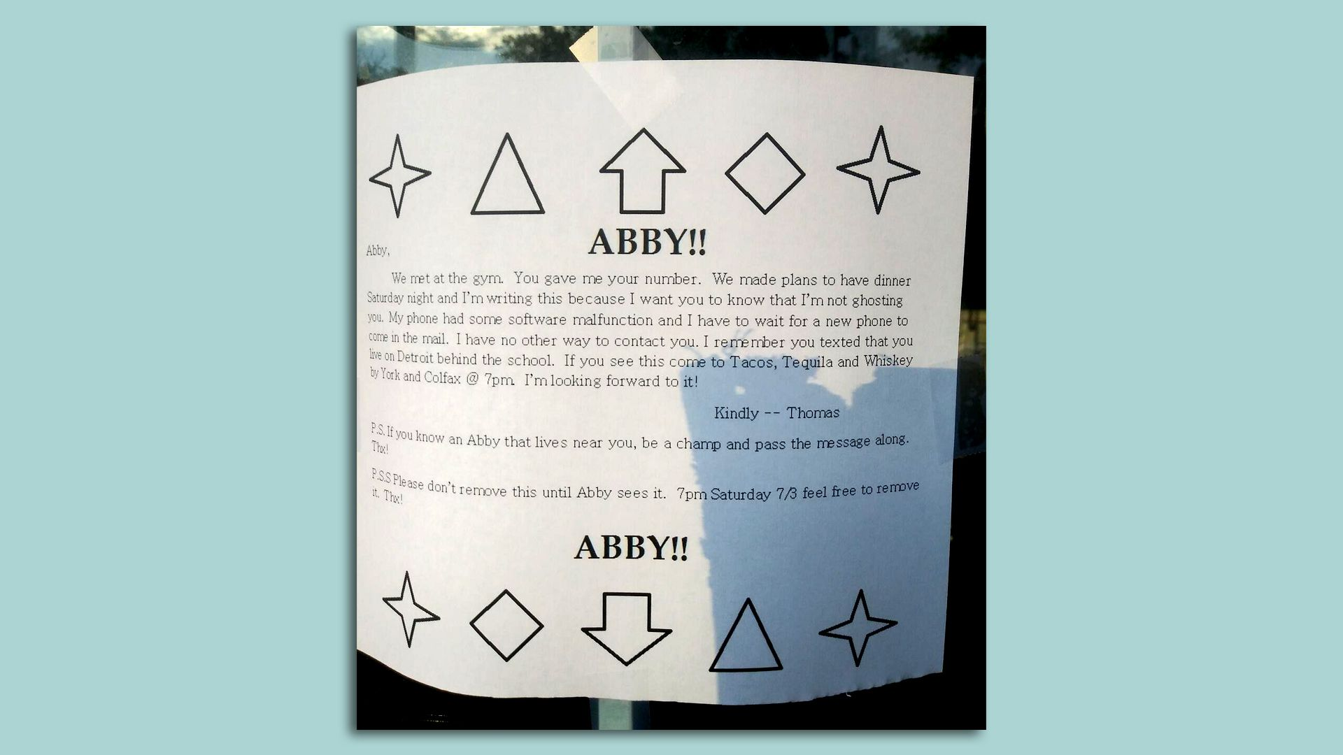 """A letter posted on doors in Denver trying to find """"Abby."""""""