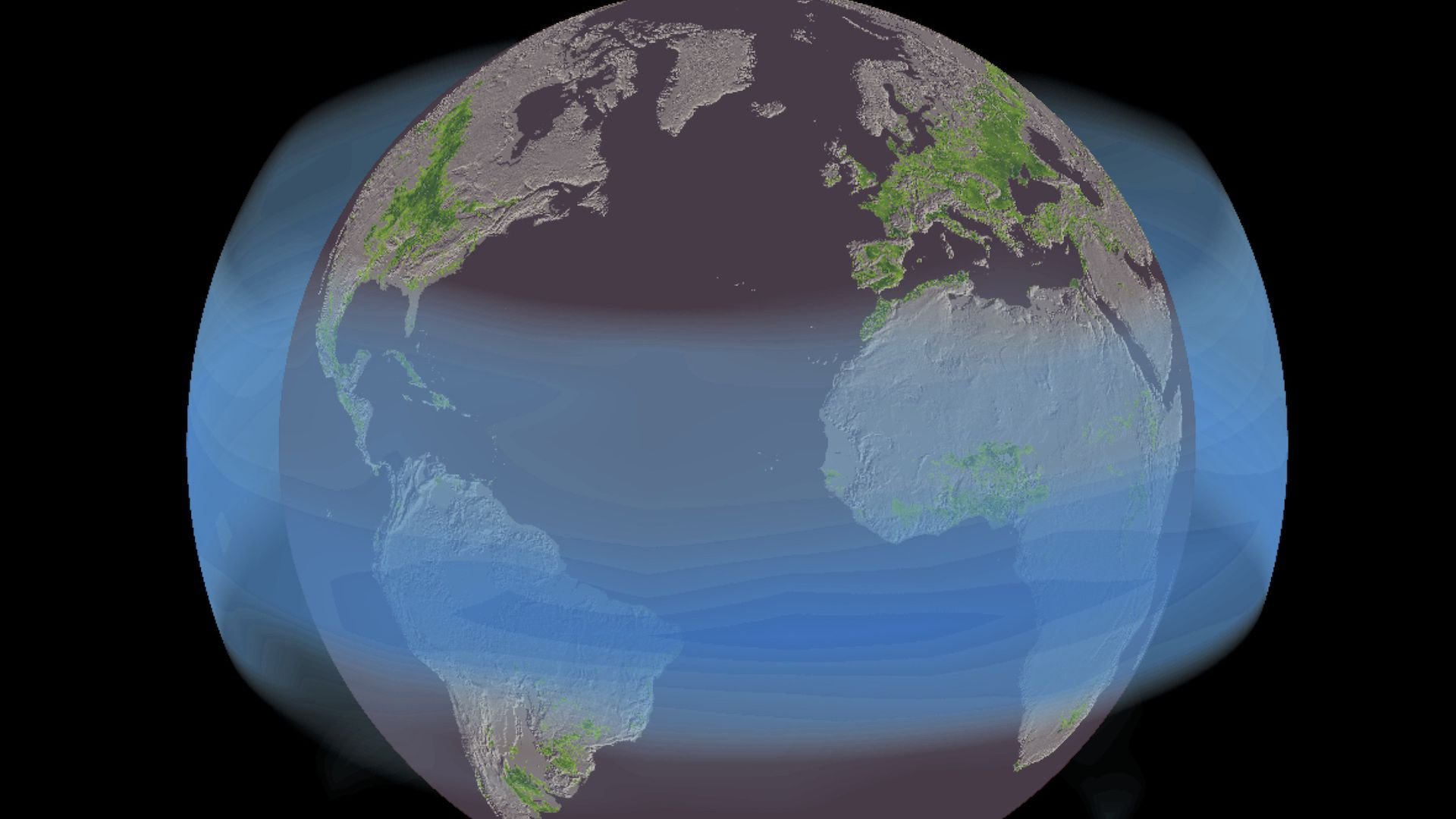 Illustration showing sulfate aerosols spreading around the world from the Mt. Pinatubo eruption.