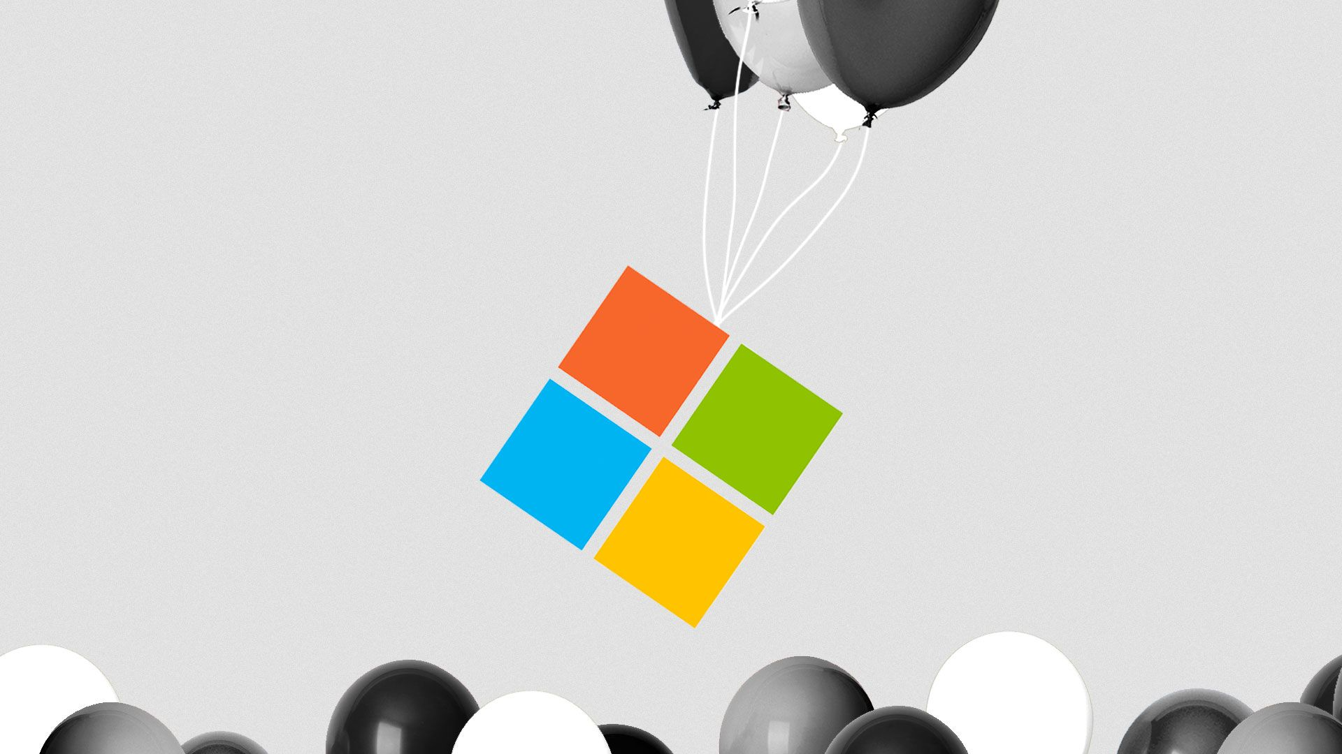 Illustration of balloons carrying the Microsoft logo up and away over other balloons.