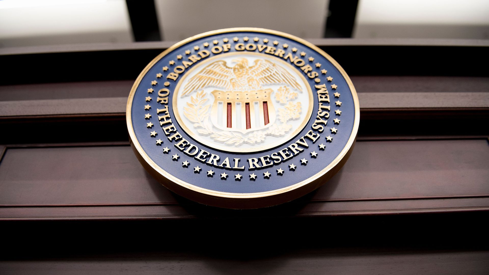 A view of the Federal Reserve Board of Governors seal is pictured before a briefing at the US Federal Reserve. Photo: BRENDAN SMIALOWSKI/AFP/Getty Images