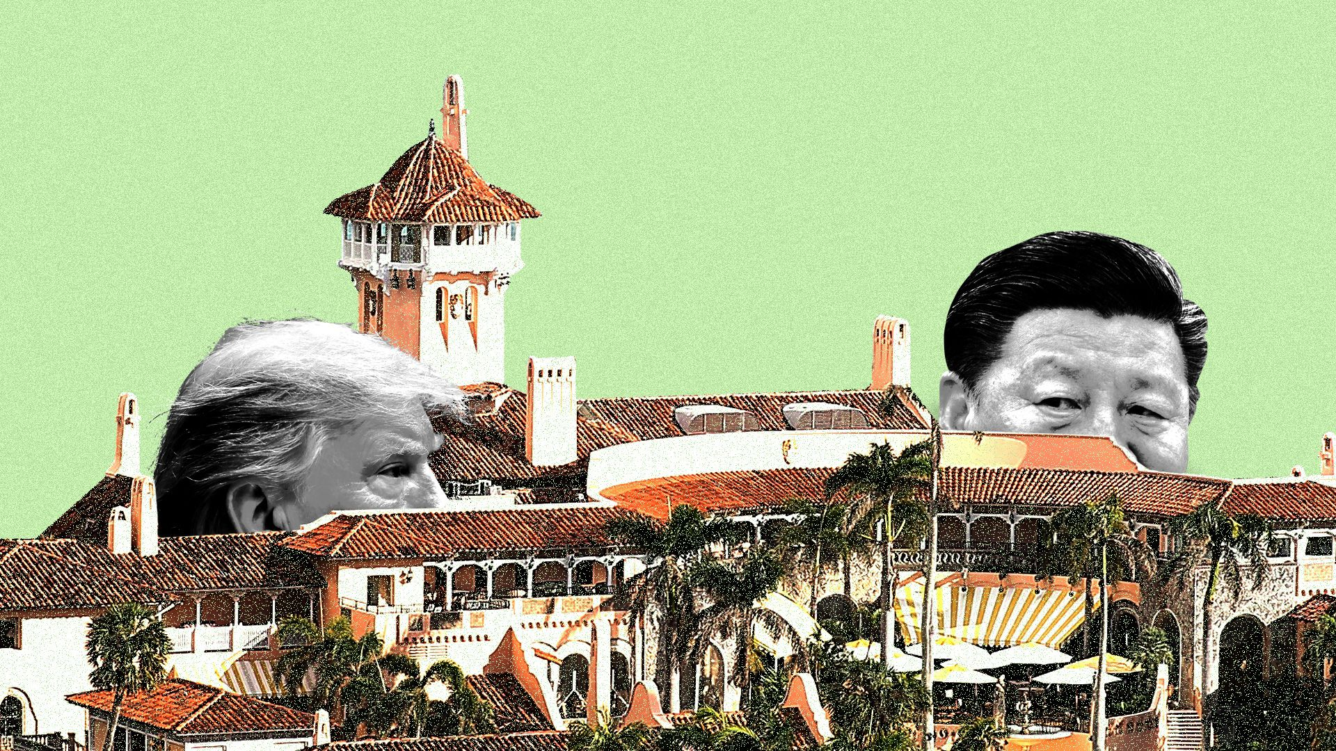 Donald Trump and Xi Jinping peering at each other on the grounds of Mar-a-Lago