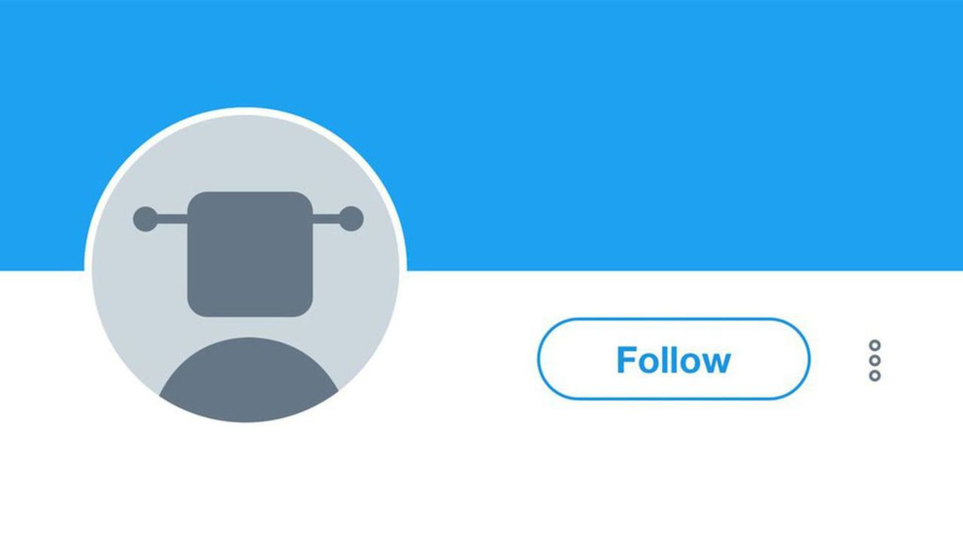 A twitter profile with a robot as the avatar