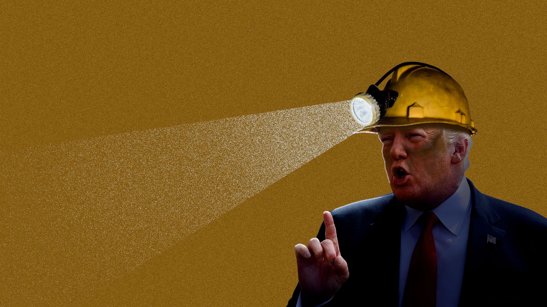 Donald Trump wearing a mining hat with an attached flashlight