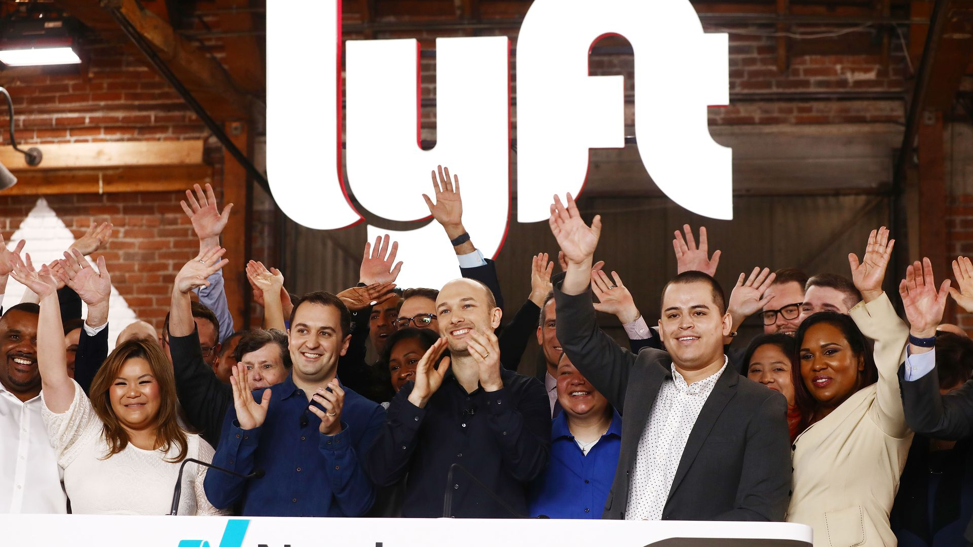 Lyft's executive team at the Nasdaq