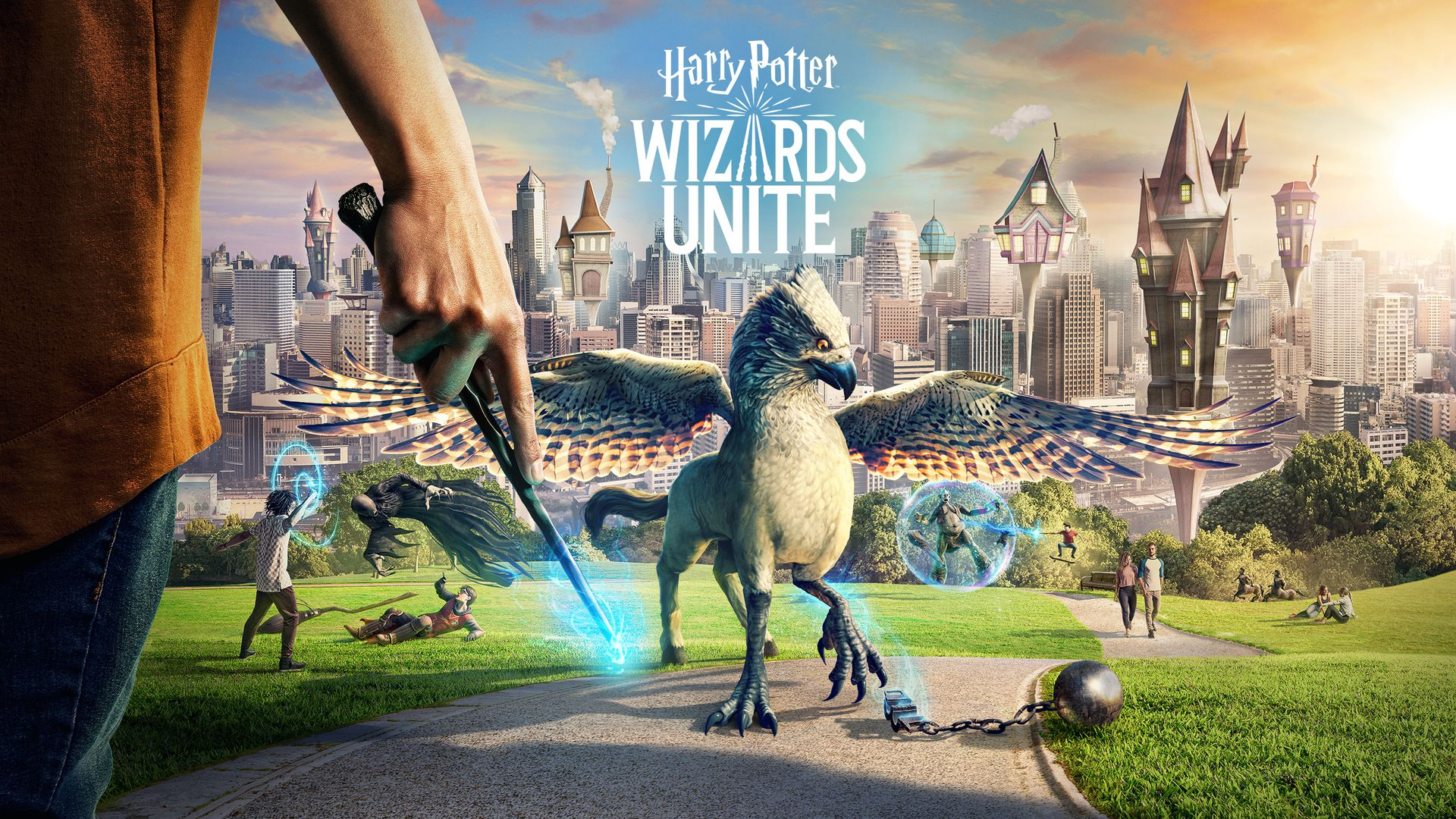 A promotional image for Harry Potter: Wizards Unite showing some characters and images from the game