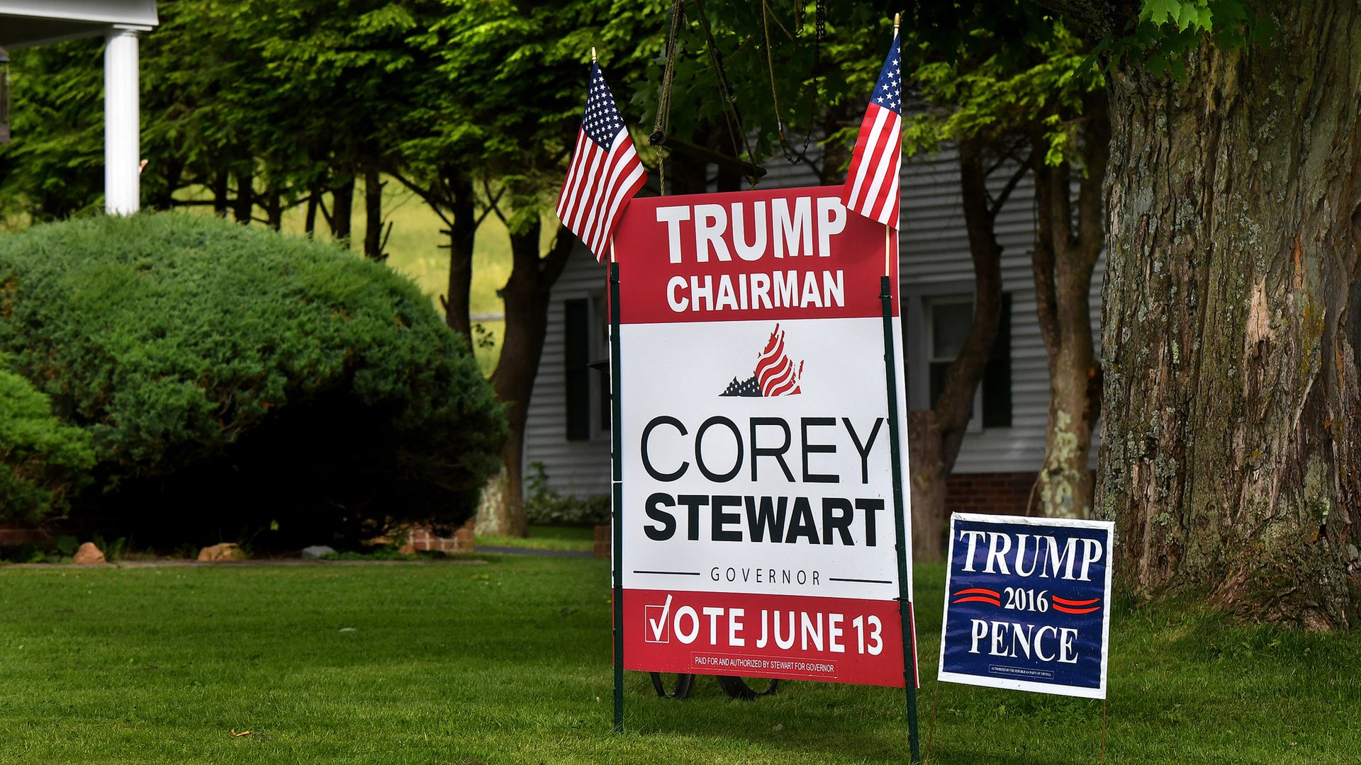 "A campaign yard sign for Corey Stewart, calling him ""Trump chairman."""