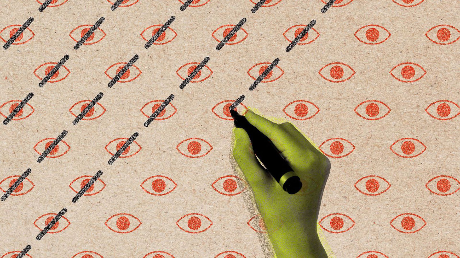 Illustration of a hand with pen crossing out eyes in a pattern