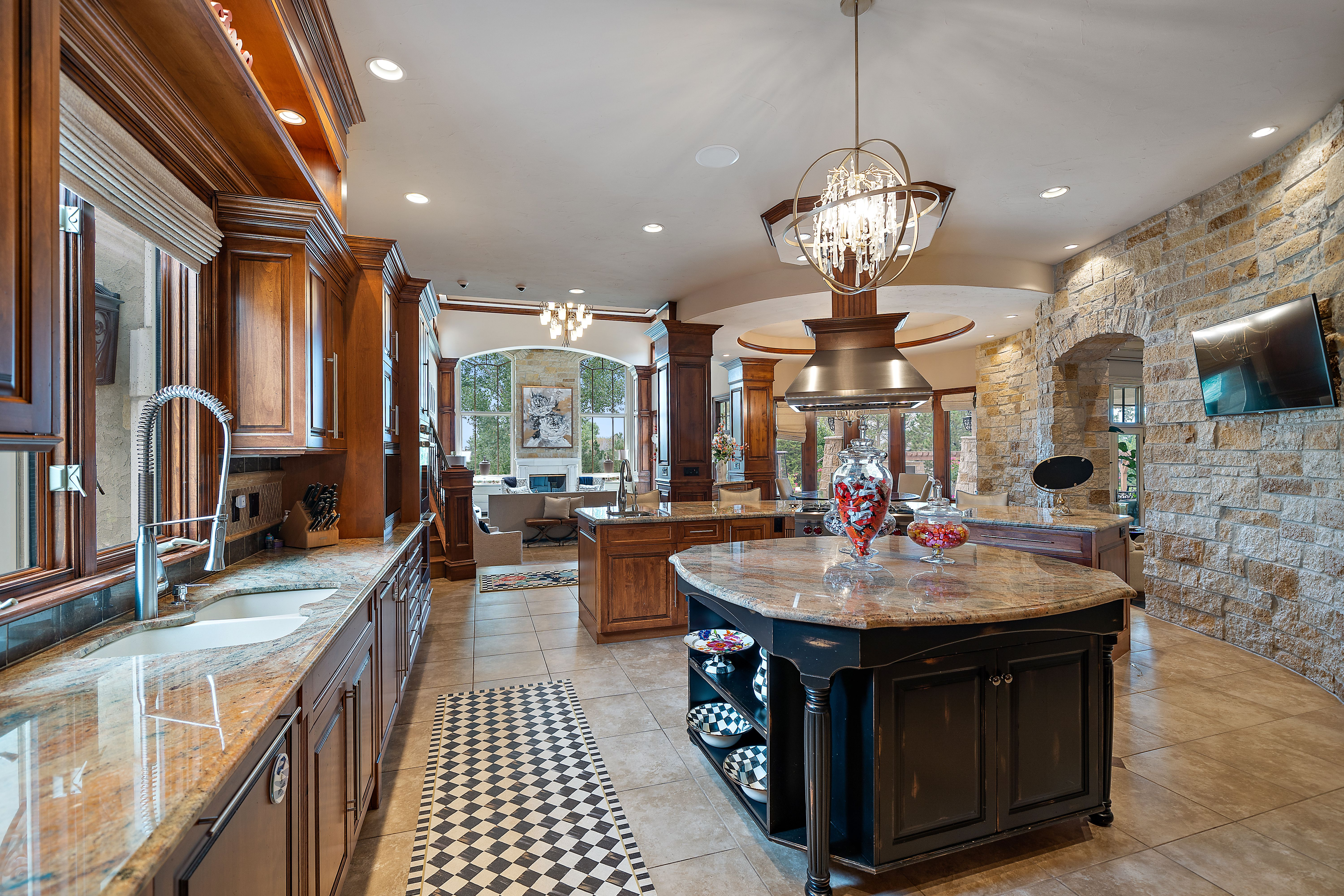 A view inside the large kitchen with an island.