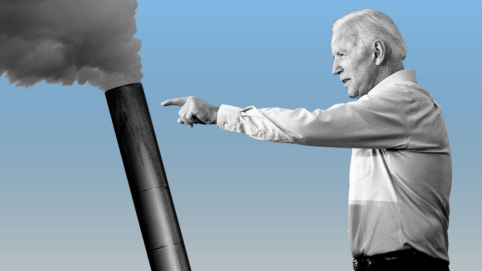 Illustration of Joe Biden pushing over a smokestack