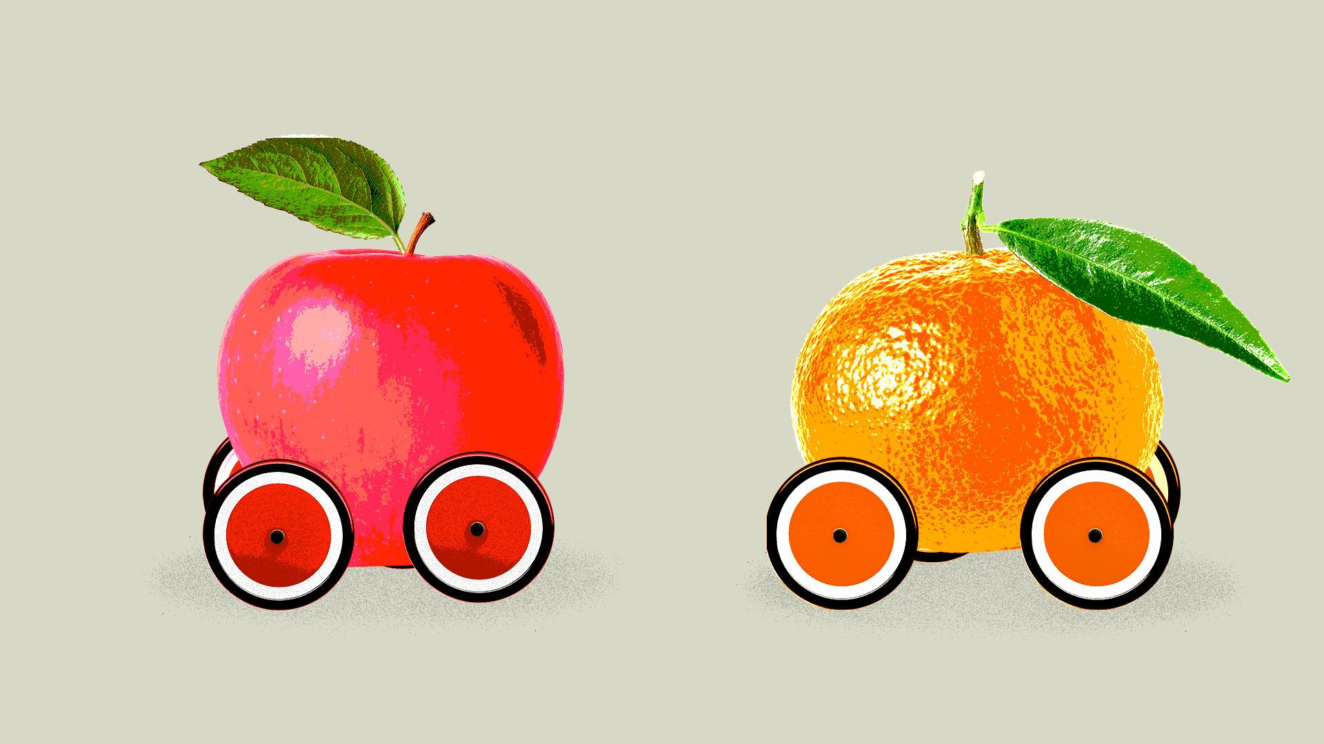 Illustration of an apple and an orange as cars.
