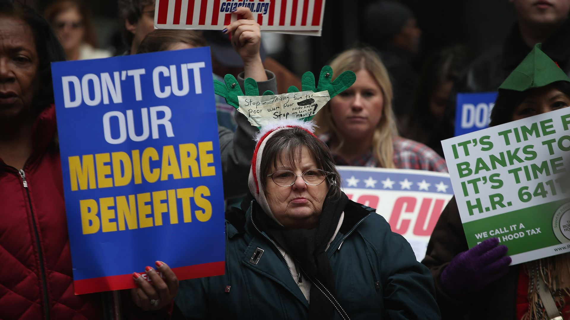 Protests of Medicare cuts occurred in Chicago.
