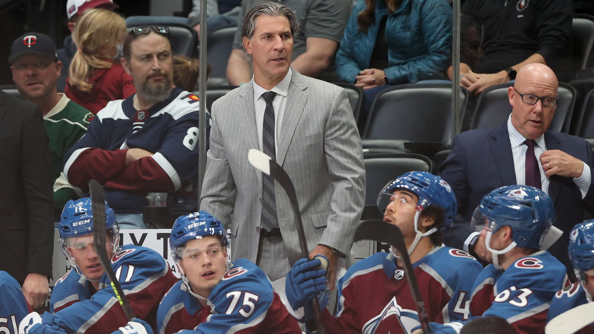 Head coach Jared Bednar of the Colorado Avalanche watches as his team plays a preseason game. Photo: Matthew Stockman/Getty Images